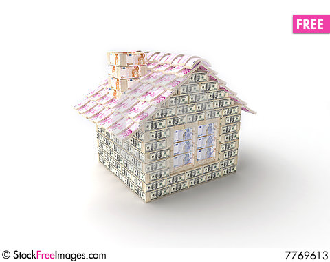 The house made of 100 dollar Stock Photo