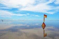 Lifeguard Flag At Murawhai Beach Stock Photo