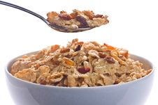 Free Bowl Of Cereal With Raisins And Milk Stock Photo - 7760930