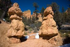 Free Red Rock Canyon Twin Hoodoos Royalty Free Stock Photography - 7761047