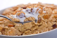 Free Bowl Of Cereal With Raisins And Milk Royalty Free Stock Photography - 7761067