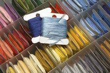 Multi-coloured Mouline Threads With A Needle Stock Photography