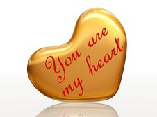 Free You Are My Heart In Golden Heart Stock Photos - 7762593