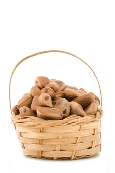 Free Pine Nuts In A Basket Stock Photos - 7762813