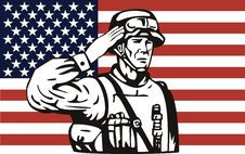 American Soldier Saluting Flag Royalty Free Stock Images
