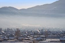 Winter Morning In Village. The Top View. Stock Images