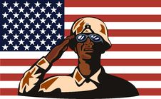 American Soldier With Flag Royalty Free Stock Images