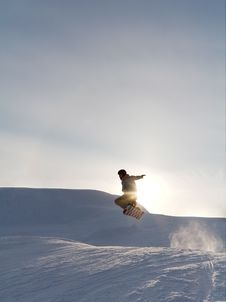 Free Snowboarder S Jump At The Sunset Royalty Free Stock Photos - 7764548