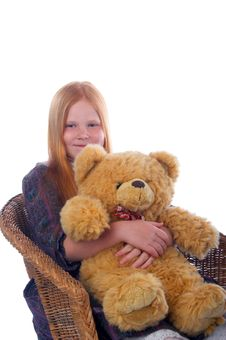 Free Redhead Girl And Her Big Toy Bear Stock Photography - 7764872
