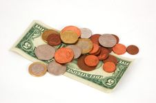 Paper Money And Coins Stock Photography