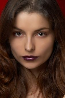 Young Beautiful Woman With Violet Lips Stock Images