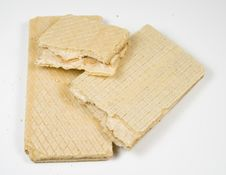 Crackling Wafers With A White Cream Royalty Free Stock Photos