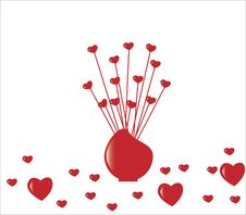 Free Red Hearts In Vase Stock Images - 7767684