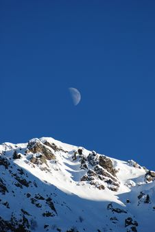Mountain And Moon Stock Images
