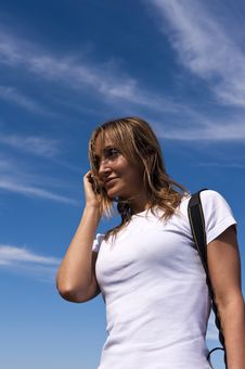 Free Young Woman Talking On A Cellphone Royalty Free Stock Image - 7767866