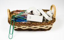 Bast Basket With Destroyed Keyboard Royalty Free Stock Photography