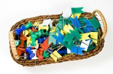 Free Bast Basket With Colored Pushpins Royalty Free Stock Photo - 7768065