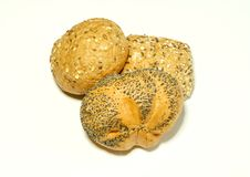 Free Bread Rolls With Sunflower Seeds Isolated On Whit Royalty Free Stock Image - 7768636
