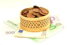 Free Wooden Box Full Of Coins On Banknotes Of Euro, Iso Stock Images - 7768854