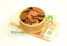 Free Wooden Box Full Of Coins On Banknotes Of Euro, Is Royalty Free Stock Image - 7768886