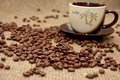 Free Coffee Beans And Cup With Beverage Royalty Free Stock Images - 7776949