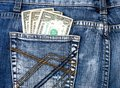 Free Denim Jeans With Money In Back Pocket Stock Photography - 7777842