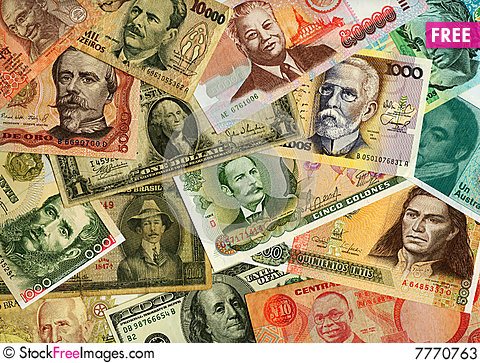 Currencies from around the world, paper banknotes. Stock Photo