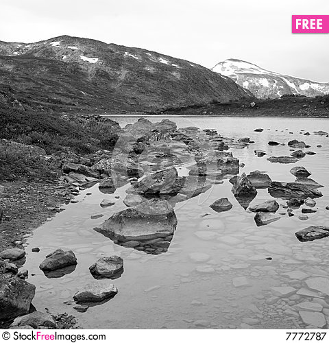 Black-and-white picture of a lake in Norway Stock Photo