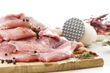 Free Raw Meat On Wooden Board Royalty Free Stock Photography - 7770067