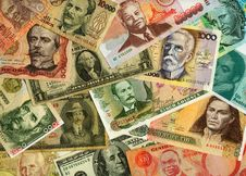 Currencies From Around The World, Paper Banknotes. Stock Photos