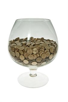 Glass With Money Stock Images