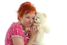 Woman With Teddy Bear Stock Photography