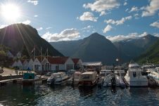 Marina At Sognefjord, Norway Royalty Free Stock Images