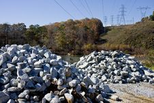Free Gravel Piles By River Stock Photo - 7771980