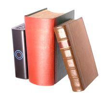 Old Leather Bound Books With A Computer Hard Drive Stock Image