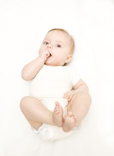 Free Little Baby On A White Background Royalty Free Stock Photos - 7772458