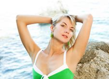 Free Woman Relaxing Near The Ocean Stock Photography - 7772702