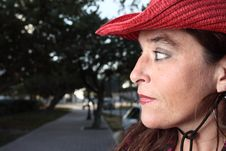 Free Woman With A Red Hat Stock Photos - 7773263
