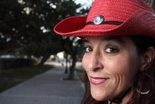 Free Woman In A Red Hat Royalty Free Stock Photo - 7773275