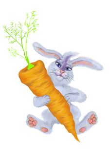 Free A Rabbit Holds A Carrot Stock Photos - 7773313
