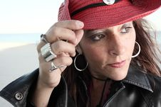 Free Woman In A Red Cowboy Hat Royalty Free Stock Photography - 7773347