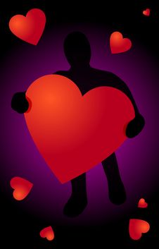 Free Black Silhouette With Heart In Hand Stock Photos - 7773983