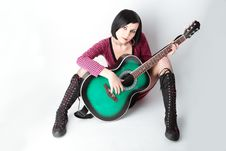 Beauty Emo Girl With Guitar Stock Image