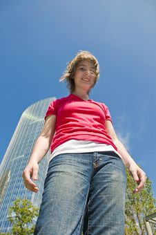 Teen Girl Portrait - Low Angle Royalty Free Stock Photos