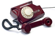 Free Old Telephone On White Stock Image - 7776101
