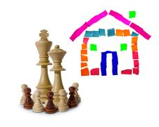 Chess Composition With Real Estate Stock Photography