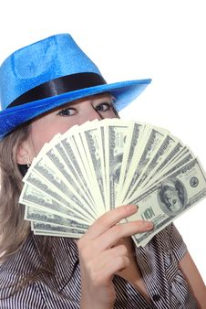The Girl With Dollars Royalty Free Stock Photos