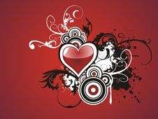Free Valentine Grunge Heart Floral Royalty Free Stock Photos - 7777248