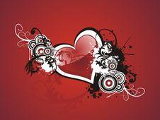 Free Valentine Grunge Heart Floral Stock Image - 7777261
