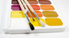 Set Of Water Colour Paints With Paintbrushs Stock Images